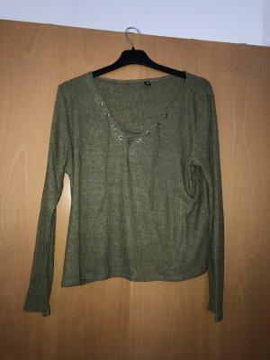 Khaki Pullover mit Schnürrung