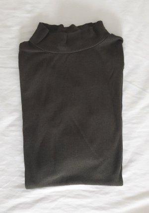 khaki Rippenshirt mit Kragen ZARA
