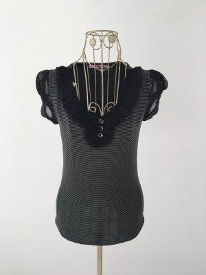 Khaki-schwarz gestreiftes Shirt mit transparenten Ärmelchen
