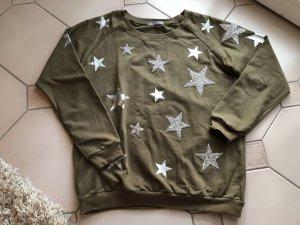 Khaki Sweater mit Silber Sternen
