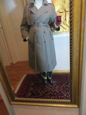 khaki Wintermantel Trenchcoat von DELMOD Kariertes Wollefutter mit Taillengurt
