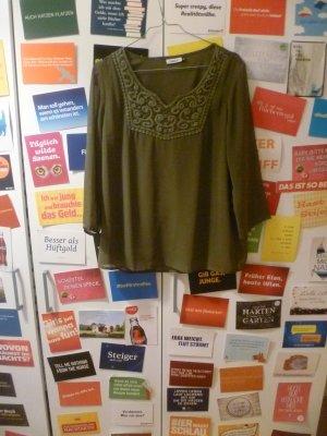 Khakifarbene Bluse von ONLY mit Häkelverzierung