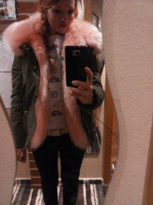 khakifarbene Jacke/Parka mit rosa XXL Kunstfell von K.Zell *Blogger*