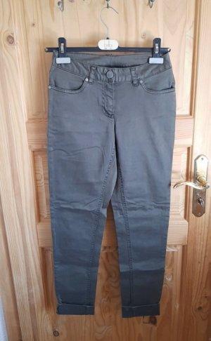 Pantalon cigarette gris vert-kaki