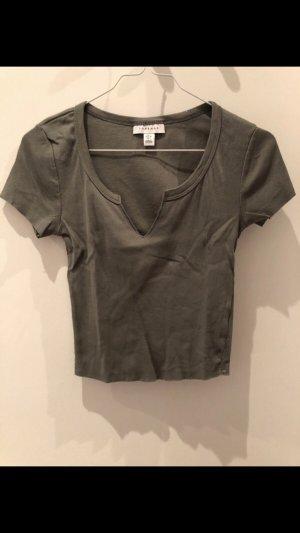 Khakifarbenes Kurzes T-Shirt von Topshop