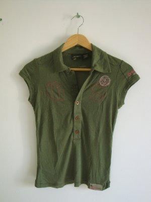 Khakifarbenes Poloshirt mit tollen Details, Gr. XS
