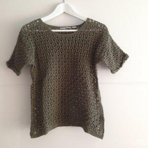 Khakifarbenes Strickshirt