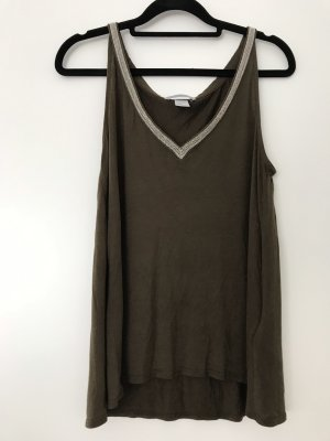 H&M A Line Top khaki-green grey viscose