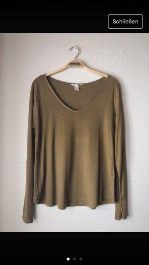 H&M V-hals shirt khaki