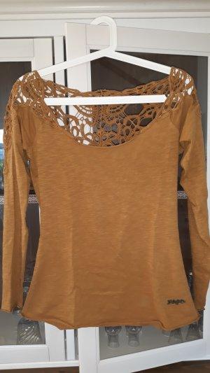 Khujo Vintage Gehaakt shirt cognac Katoen
