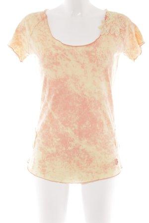 Khujo Batik shirt sleutelbloem-abrikoos batik patroon extravagante stijl