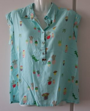 Khujo Bluse Shirt mint Kaktusprint Gr. S/M (36/38) Street Wear