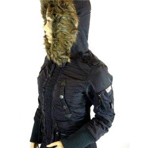 KHUJO CILLE Parka Jacke Wintermantel Mantel Kapuze Fellkragen S36 Farbe charcoal Neupreis 189Euro!!! Top!!! Neuwertig!!!