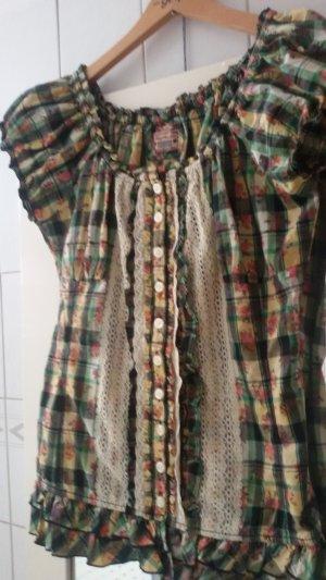 khujo Damen Bluse, Shirt mit Spitze und Rüschen,Gr. L