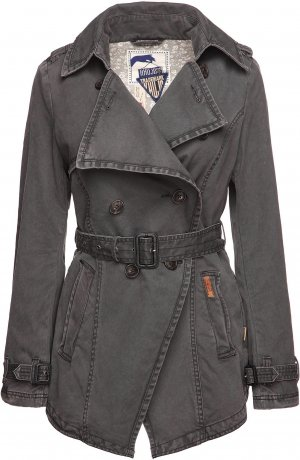 khujo Damen Jacke Trenchcoat FOG Size M-L
