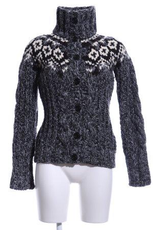 Khujo Coarse Knitted Jacket light grey-natural white graphic pattern