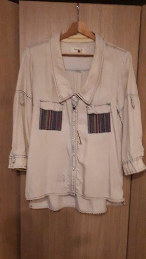 Khujo Chemise à manches longues blanc cassé-bleu lyocell