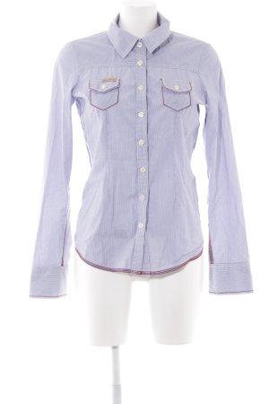 Khujo Hemd-Bluse wollweiß-graublau Streifenmuster Business-Look