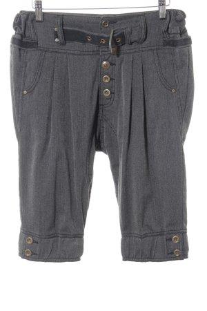 Khujo High-Waist-Shorts schwarz-grau Fischgrätmuster Casual-Look