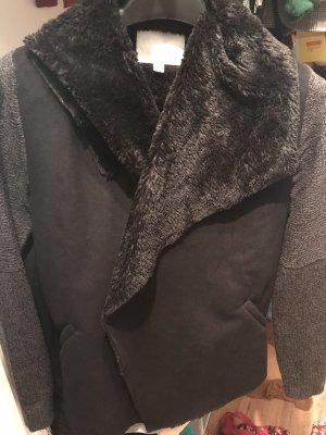 Giacca di pelliccia nero-antracite