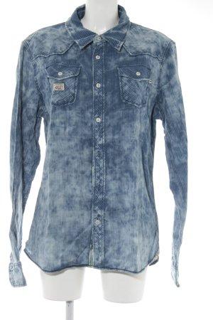 Khujo Camicia denim azzurro-blu pallido Motivo schizzi di pittura look vintage