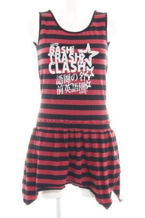 Khujo Jerseykleid ziegelrot-schwarz Schriftzug gedruckt Punk-Look