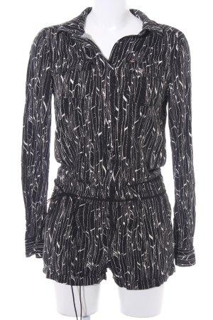 Khujo Jumpsuit schwarz-creme abstraktes Muster Casual-Look