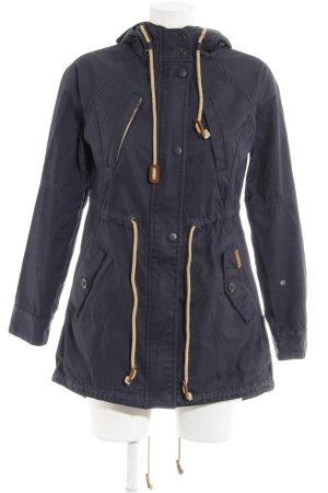 Khujo Manteau à capuche bleu foncé-crème style décontracté