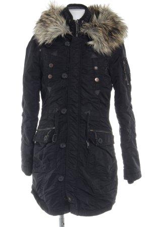 Khujo Manteau à capuche noir-gris anthracite style décontracté
