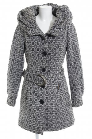 Khujo Hooded Coat black-white abstract pattern casual look