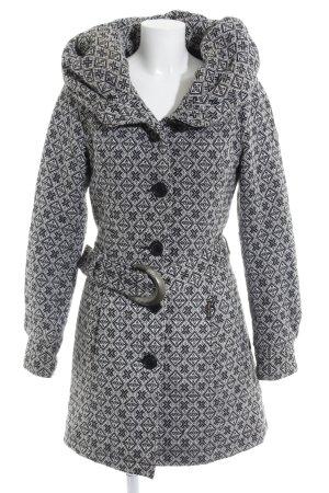 Khujo Manteau à capuche noir-blanc motif abstrait style décontracté