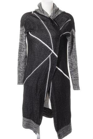 Khujo Manteau à capuche noir-blanc Mélange de motifs Look de motard