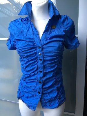 Khujo Knitterbluse bügelfrei blau neu XS