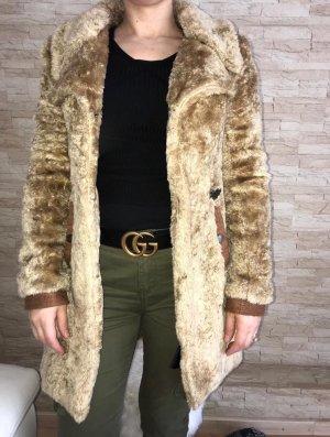 Khujo Vintage Abrigo de piel sintética color oro-marrón arena