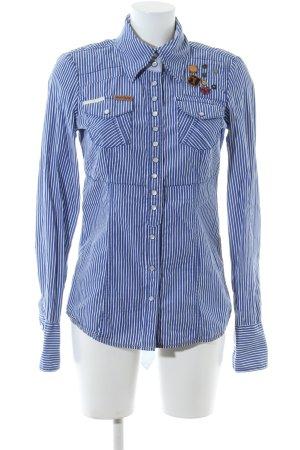 Khujo Kurzarm-Bluse blau-weiß Streifenmuster Casual-Look