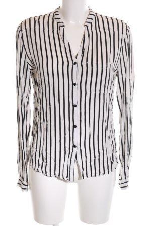 Khujo Langarm-Bluse weiß-schwarz Streifenmuster Business-Look