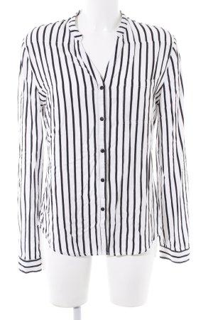 Khujo Langarm-Bluse weiß-schwarz Streifenmuster klassischer Stil