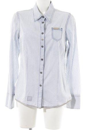 Khujo Langarmhemd babyblau-kornblumenblau Streifenmuster Business-Look