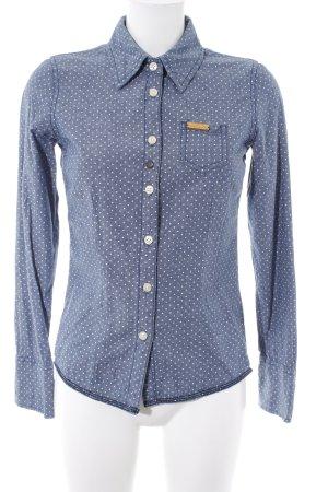 Khujo Langarmhemd graublau-weiß Punktemuster Casual-Look