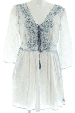 Khujo Langarmkleid weiß-blau Blumenmuster Casual-Look