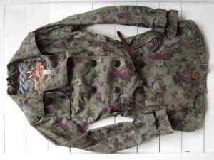 Khujo lange Übergangsjacke in khaki mit Blumen und Gürtel