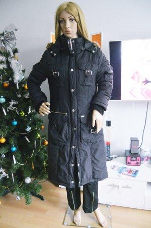 Khujo langer schwarzer Mantel gr.L