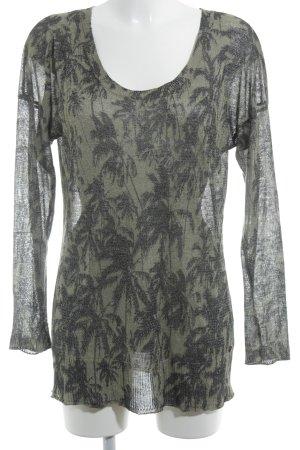 Khujo Longpullover hellgrün-schwarz abstraktes Muster Casual-Look