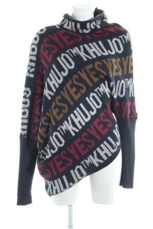 Khujo Oversized Pullover dunkelblau-ziegelrot Schriftzug gestickt Kuschel-Optik