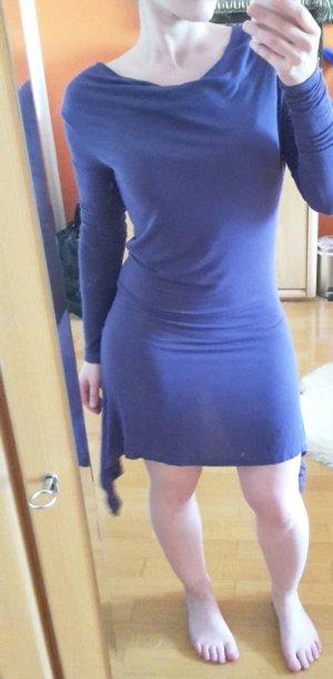 Khujo Purus Kleid Dress Langarm Wasserfallkragen rauchblau Gr. S