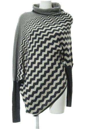 Khujo Rollkragenpullover grau-wollweiß Streifenmuster Casual-Look