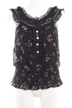 Khujo Top a balze nero-rosa motivo floreale stile romantico