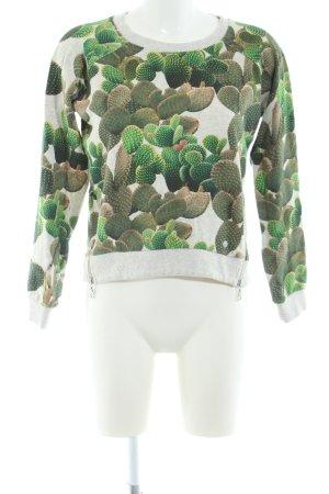 Khujo Rundhalspullover hellgrau-grün Blumenmuster Casual-Look