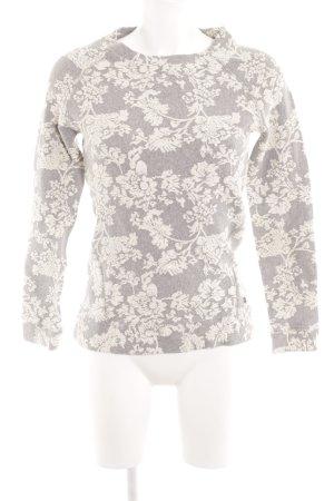 Khujo Rundhalspullover grau-wollweiß florales Muster Casual-Look
