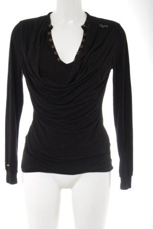 Khujo V-Ausschnitt-Pullover schwarz Casual-Look